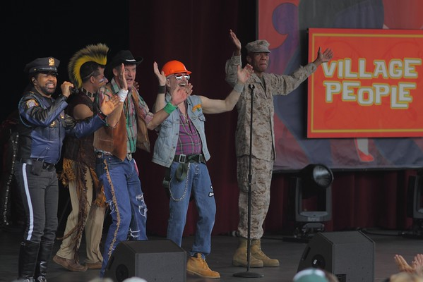 The Village People 2013:  Ray Simpson (Cop), Felipe Rose (Indian), Jeff Olson (Cowboy), David Hodo (Construction Worker), and Alex Briley (G.I.).  Not shown is the Biker (Eric Anzalone).  Felipe, Alex, and David are from the original group.