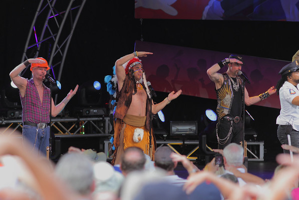 The Village People at Epcot, 2013 perform YMCA:  David Hodo (Construction Worker), Felipe Rose (Indian), Eric Anzalone (biker), and Ray Simpson (Cop).