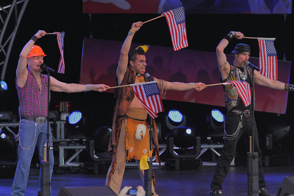 The Village People at Epcot, 2013:  David Hodo (Construction Worker), Felipe Rose (Indian), Eric Anzalone (biker).